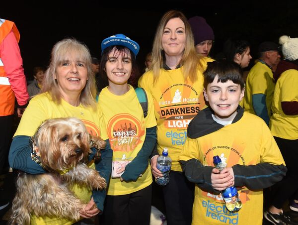 Geraldine and Hayleigh Mulcahy, Gurranabraher with dog Flint and Tracie and Matthew Barry, Churchfield. Picture: Larry Cummins