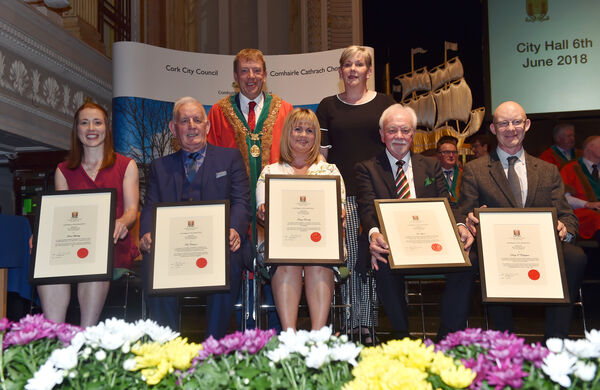 Winners of civic awards at the City Hall last night, front from left, Rena Buckley, Tom Coleman, Tracey Kennedy, Pat Lyons, and Derry O'Callaghan, with the Lord Mayor Cllr Tony Fitzgerald and Ann Doherty, CEO Cork City Council.	Picture: Eddie O'Hare