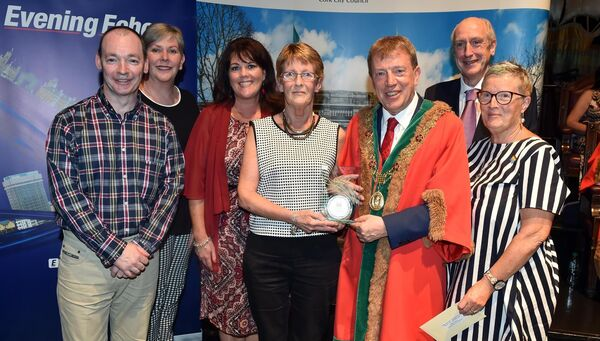 Gráinne O'Connell-Walsh, Bernie Buckley, Theresa O'Sullivan, and Sean Monagan, Ballyphehane Togher CDP, the winner of the community development category with Lord Mayor Cllr Tony Fitzgerald, Ann Doherty CEO Cork City Council, and Maurice Gubbins, editor of the Evening Echo, awards sponsors. at the City Hall last night.