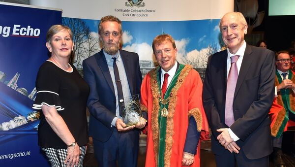 Ruairi O'Farrell, representing Cork Foyer and Bishopsgrove winners of the Advocacy/information guidance section award at the Lord mayors Community and voluntary awards with The Lord Mayor Clr Tony Fitzgerald, Ann Doherty CEO Cork City council and Maurice Gubbins, editor of the Evening Echo sponsors at the City Hall last night. Picture: Eddie O'Hare