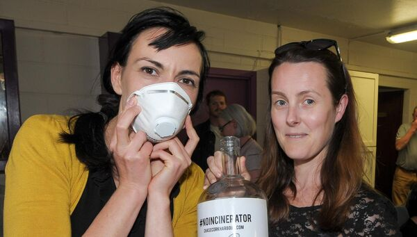 Katherina Walter and Patrice Fanning, both from Crosshaven, at the public meeting in response to the Indaver Ireland incinerator planning decision, organised by the Cork Harbour Alliance for a Safe Environment group (CHASE) at Carrigaline Community Complex. Picture: David Keane.