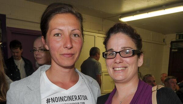 Terezia Foott and Traci Gardiner, both from Crosshaven, attending the public meeting in response to the Indaver Ireland incinerator planning decision, organised by the Cork Harbour Alliance for a Safe Environment group (CHASE) at Carrigaline Community Complex. Picture: David Keane.