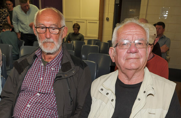 Gerard Murphy, Carrigaline and Tony Cronin, Magazine Road, at the public meeting in response to the Indaver Ireland incinerator planning decision, organised by the Cork Harbour Alliance for a Safe Environment group (CHASE) at Carrigaline Community Complex. Picture: David Keane.