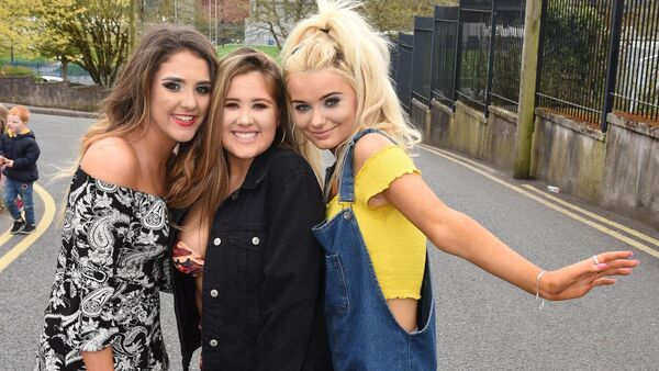 Sophie Coleman, Sligo; Emily Coleman, Ballinlough and Holly Duggan, Rochestown all set for the concert. Pic; Larry Cummins