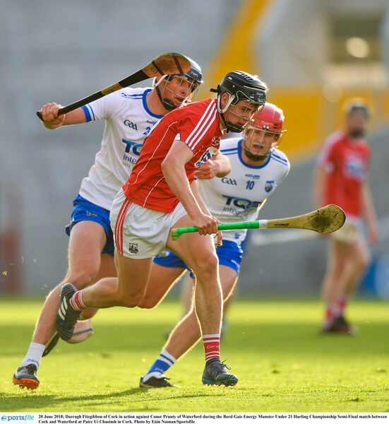 Darragh Fitzgibbon taking on Conor Prunty of Waterford. Picture: Eóin Noonan/Sportsfile