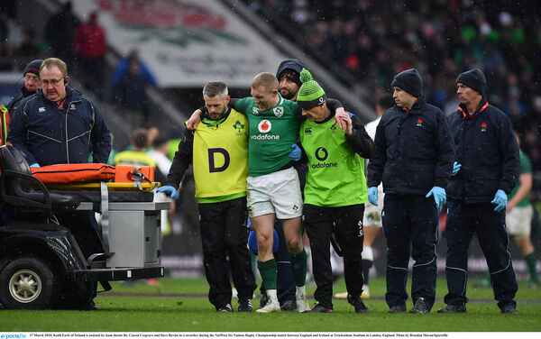 Keith Earls goes off injured against England in March. Picture: Brendan Moran/Sportsfile