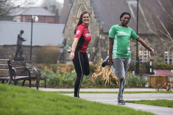 Sanctuary Runners, Ann O'Regan of Clonakilty RoadRunners AC training with Alleta N Ndhlovu in preparation for the Cork City Marathon 2018. Picture: Clare Keogh