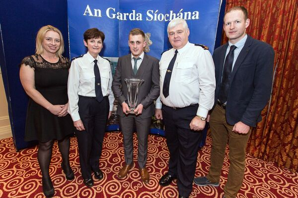 Lorraine Downey, Supervalu Castletownbere, Assistant Commissioner Southern Region Anne Marie McMahon, Jack O'Sullivan, Beara, who took an Overall Award with Chief Supt Con Cadogan Bandon & Chris Downing, Supervalue Castletownbere at the West Cork Garda Youth Awards 2017 recently at the Riverside Park Hotel, Macroom.Picture: John Delea.