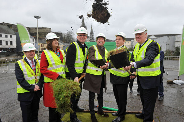 The then Taoiseach Enda Kenny TD turning the sod for the Events Centre ahead of the 20156 General Election. The project has yet to begin with a request for further State funding being considered. Pictured at the time were Lord Mayor of Cork Cllr Chris O'Leary; An Tanaiste Joan Burton T.D., Minister for Agriculture, Food, the Marine and Defence Simon Coveney T.D.; CEO of live Nation Ireland Mike Adamson; An Taoiseach Enda Kenny T.D. and BAM Ireland CEO Theo Cullinane. Pic: Daragh Mc Sweeney/Provision