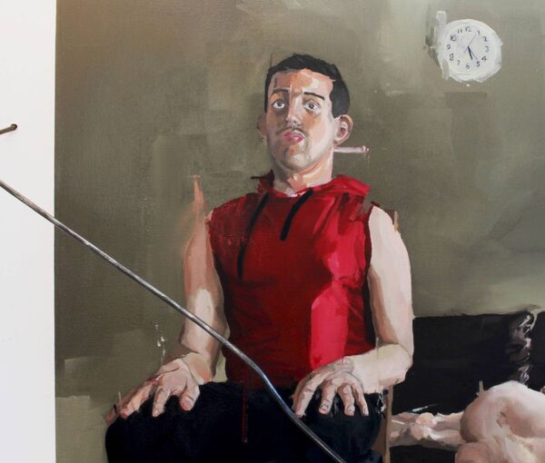 HIS PAINTINGS: One of Stephen Doyle's pieces, 'Man and Subject'.
