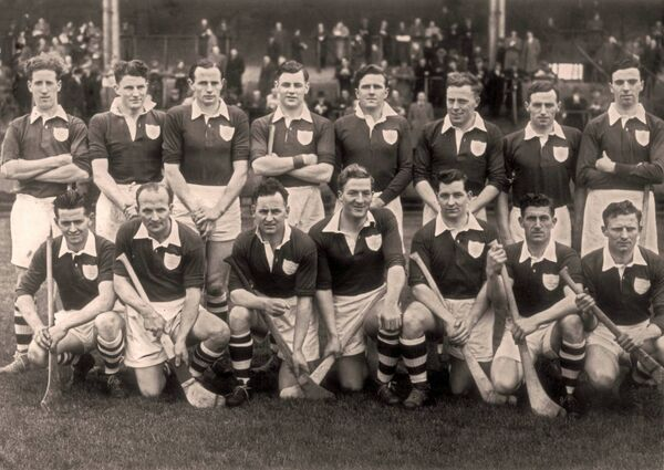 An Ireland hurling selection in 1954, featuring: (back row): John 'Jobber' McGrath, Terry Leahy, Bobby Rackard, Liam Dowling, John Doyle, Pat Stakletum, Paddy Kenny, Connie Murphy and (front row): Tim Flood, Christy Ring, Willie Walsh, Billy O'Neill, Tony O'Shaughnessy, Willie John Daly, Sean Duggan.