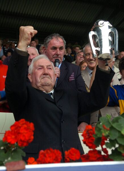 Carrigtwohill legend Willie John Daly with the county trophy after the club won the PIHC at Páirc Uí Chaoimh. Picture: Eddie O'Hare
