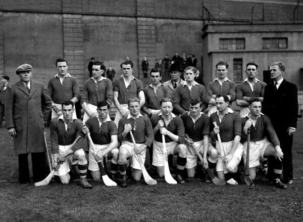 The Cork team who played Tipperary in the 1948 league final, included in the front row are Willie John Daly (second from left)  and Jack Lynch (sixth from left).