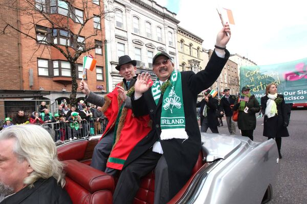 Lord Mayor of Cork Cllr John Buttimer and Grand Marshall Mayor of San Francisco Edwin Lee at the Cork St Patricks Day Parade in 2013. Pic: Darragh Kane