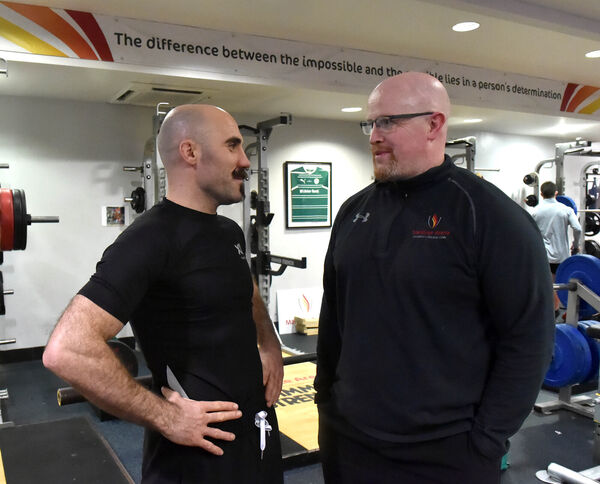 Spike chatting with Dave O'Connell, strength and conditioning coach at the Mardyke. Picture: Eddie O'Hare