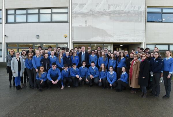 Pupils and teachers at Kinsale Community School with TV presenter Daithi O Se. Pic; Larry Cummins