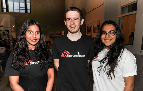 UCC students Mahnoor Ali, Rory Holohan and Harsha Daswani, are all smiles at the Medecines Sans Frontieres forgotten crises event at St Peter's, North Main Street. Picture: David Keane.
