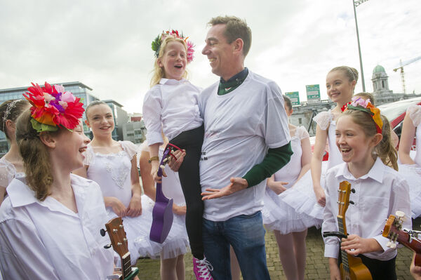 RTE's Ryan Tubridy pictured with students from the Denise Moriarty School of Dance and the School of Uke, Cork at the launch of The Late Late Toy Show Audition Tour in Cork city, earlier this year.Pic Daragh Mc Sweeney/Provision