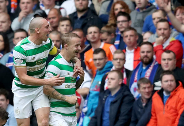 Celtic's Leigh Griffiths celebrates scoring with Scott Brown. Picture: Jane Barlow/PA Wire.