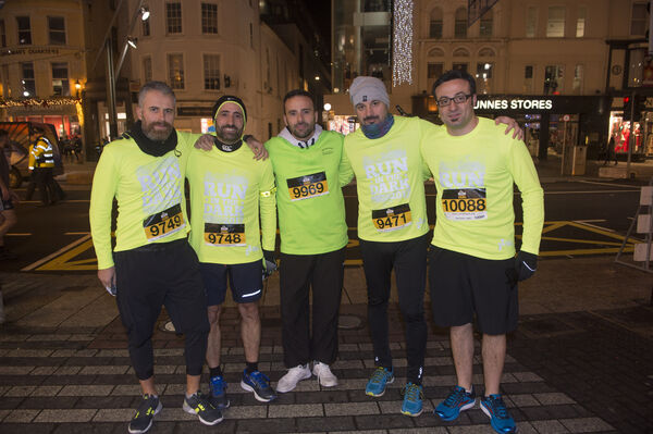 Carmine, Adil, Andrea, Marco and Dario from Italy at last nights Run in the Dark in Cork City. Picture Dan Linehan