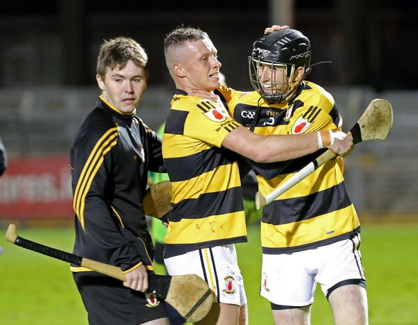 Dayne Lee and Padraig Guest, Na Piarsaig, celebrate their win against, Glen Rovers. Picture: Jim Coughlan.