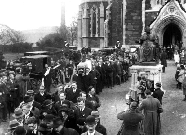 Terence MacSwiney's funeral leaving Cork's North Cathedral. The funeral was directed by O'Connor Bros. Pic: Mercier Archives