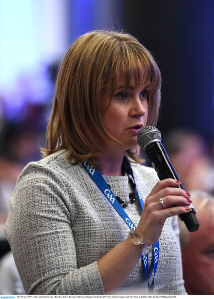 Tracey Kennedy addresses delegates during the 2017 GAA Annual Congress. Picture: Ray McManus/Sportsfile