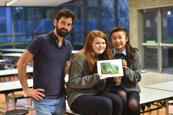 Teacher David Nolan with students Nicola Batt and Emer Conway at Ballincollig Community School - they are doing a project on Coypu for the BT Young Scientist competition. Picture: Dan Linehan