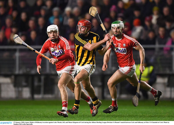 James Maher of Kilkenny in action against Luke Meade and Shane Kingston. Picture: Stephen McCarthy/Sportsfile