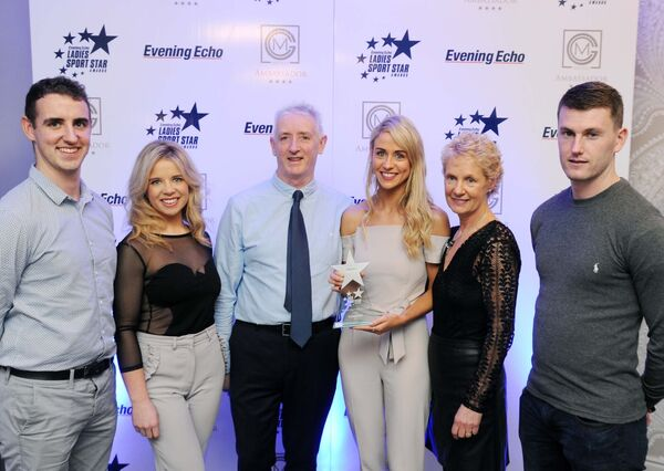 Orla with her parents Gerard and Eileen, her brother Gearóid, (left) her sister Ciara, and her boyfriend Brian O'Halloran. Picture: Denis Minihane.