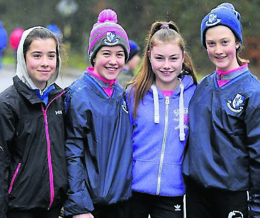 Ella O'Brien, Emily Hogan, Clodagh O'Donovan, and Eve Hogan, from Glanmire at the Sarsfields GAA Poc Fada event on St Stephens Day. 	Pic: Gavin Browne