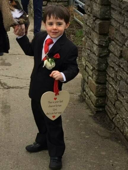 HEALTHIER FUTURE: Tristan Forde acting as page boy at the recent wedding of Siobhan and Ger O'Donovan in Dunmanway, who were among local people who arranged fundraisers for him
