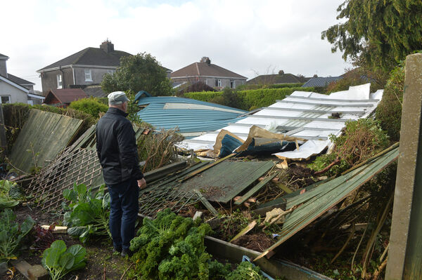 Brendan Coleman looking at a section of the roof off the Douglas Community School gym which was blown through his garden in the height of the hurricane Ophelia. Picture Dan Linehan