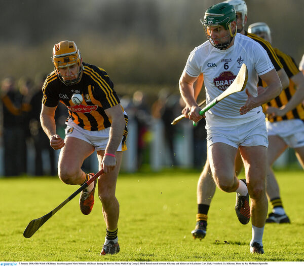 Ollie Walsh of Kilkenny in action against Mark Moloney of Kildare. Picture: Ray McManus/Sportsfile
