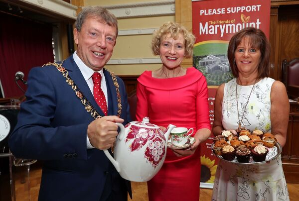 Margaret Griffin, Griffins Garden Centre, one of the event sponsors, with Lord Mayor Cllr Tony Fitzgerald and Lady Mayoress, Georgina Fitzgerald launching the City Hall Coffee Morning which takes place on September 12 in aid of Marymount Hospice. Picture: Jim Coughlan.