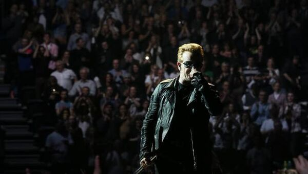 U2's Bono on stage at the SSE Arena in Belfast as part of their recent tour.