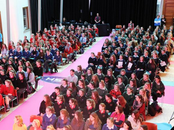 The large gathering listening to speakers at the I Wish STEM Showcase at City Hall, Cork. Picture: Denis Minihane.