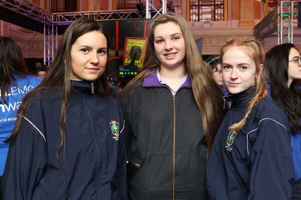 Amy Carroll, Elspeth Waters and Heather Santry from Regina Mundi Douglas pictured at the I Wish 2018 STEM Showcase. Pic Diane Cusack