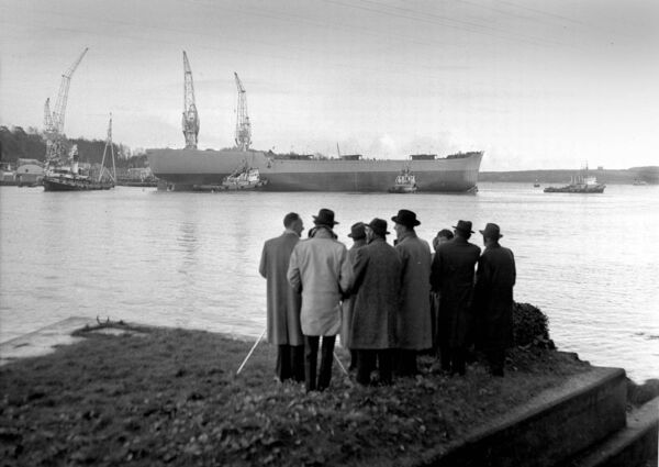 Onlookers near Monkstown view the cranes in 1961.