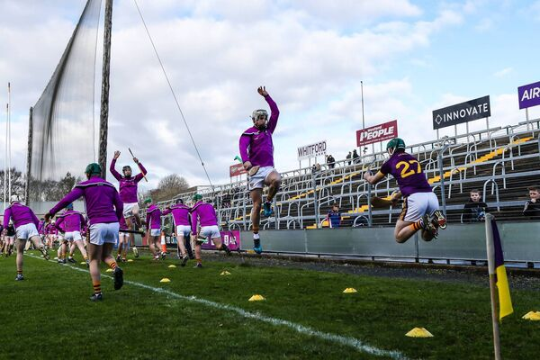 Wexford players warm up. Picture: INPHO/Laszlo Geczo