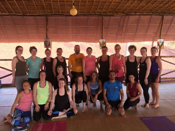 Audrey Ellard Walsh (second from the right, back row), along with her retreat group, many of them from Cork, with teacher Lalit Kumar from the Himalaya Yoga Valley Centre.