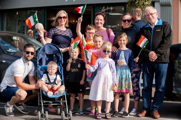 Members of the Murphy, Buckley and Cotter families attending the parade of nations through the village. Pic: Brian Lougheed