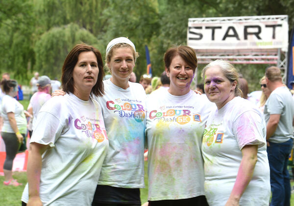 Radana, second left, with friendsMelinda Patasi, Margaret Twomey and Clare O'Leary at the finish line of the Colour Dash.Picture: Larry Cummins