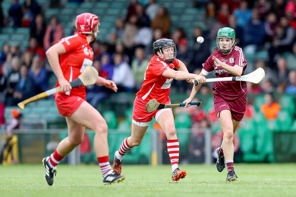 Cork's Gemma O'Connor tackles Galway's Ann Marie Starr. Picture: INPHO/Oisin Keniry