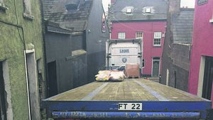 Truck gets stuck as it tries to make turn on to Blarney Street
