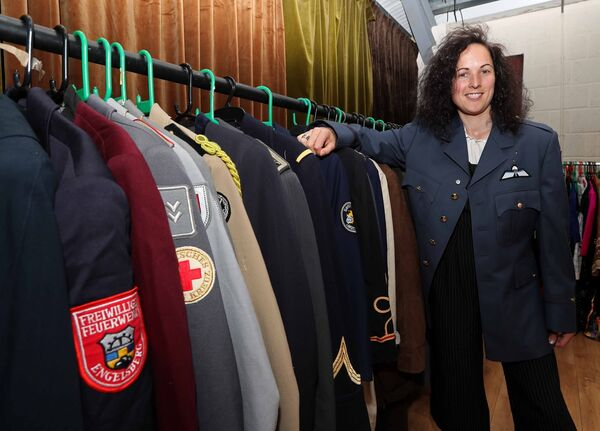 IN THE ARMY: Roisinwearing a vintage army jacket,whichwas among many jackets on sale.