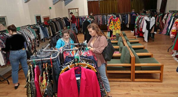 BROWSING: Customers during the Kilo Sale at The Village Hall, Patrick's Quay, Cork.Picture: Jim Coughlan.