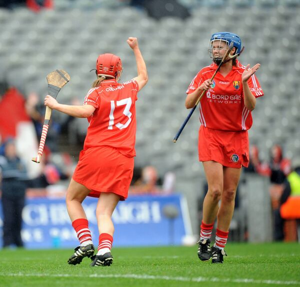 Síle Burns with Eimear O'Sullivan, when the Ballinhassig player won her first senior medal in 2008. Picture: Eddie O'Hare