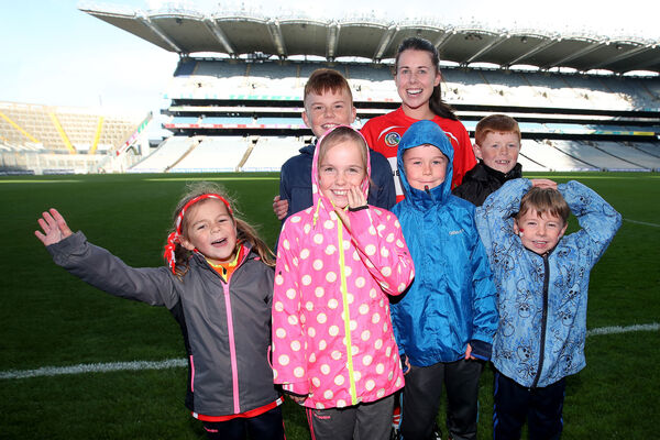 Eimear O'Sullivan celebrates winning with her nieces and nephews. Picture: INPHO/Bryan Keane