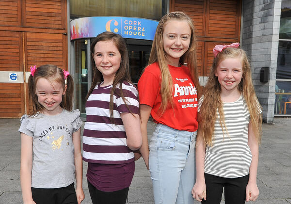 Sisters Charlotte, Faye and Sophia Herlihy from Ballinhassig and Lasairfhiona de Brun from Model Farm Road, second right, during rehearsals for the musical Annie at Cork Opera House.Picture: David Keane.